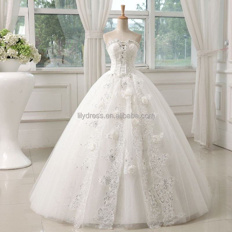 A-Line Floor Length Sweetheart Shine Lace Appliqued White Organza Brides Wedding Gowns Ht06 <strong>Fashionable</strong>
