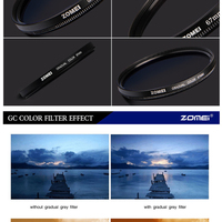 Zomei Camera Filter 52mm Gradient Color Filter Gradual Red Filter ...