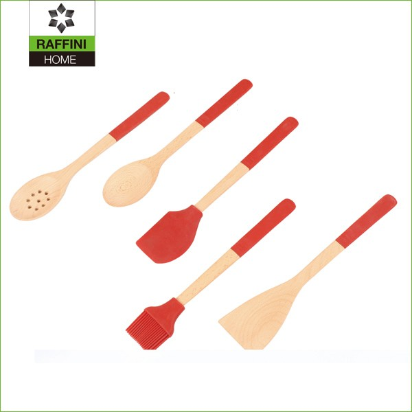 FSC 5PC Set Durable Beech Wood Kitchenwares Cooking Tools