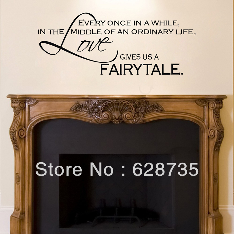Free Shipping Family Is Vinyl Wall Lettering Quote Wall: Love Gives Us A Fairytale Wall Stickers Bedroom Decor