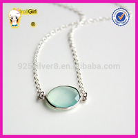 High quality green stone pendant 925 Sterling Silver Necklace
