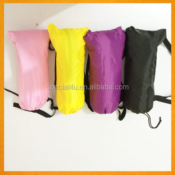 2016 New Product Travel Outdoor inflatable lay's bag Camping Nylon Inflatable air Sofa banana sleeping bag