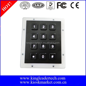 Electroplated black metal front panel keypad with 12 back-lit keys 3X4 matrix