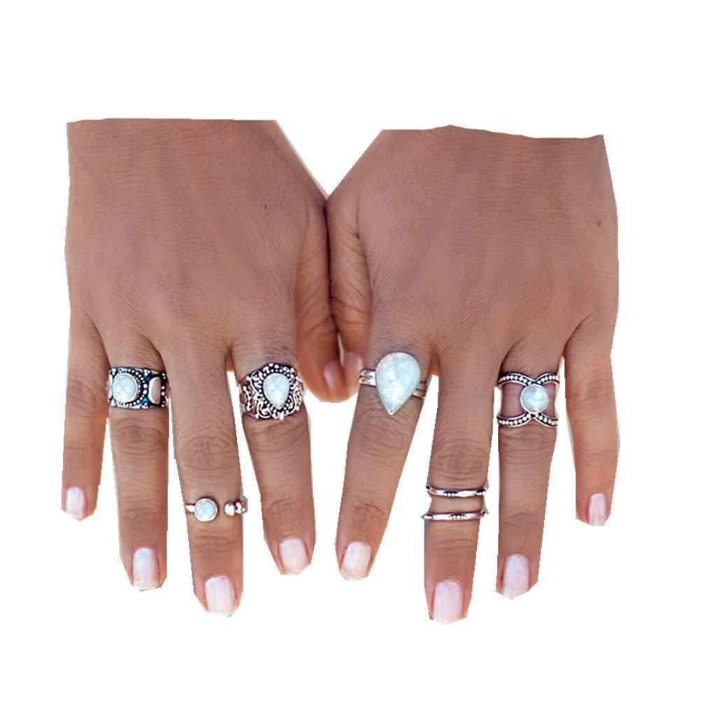 Fashion Ring, Hoshell 7pcs/Set Women Bohemian Vintage Silver Stack Rings Above Knuckle Blue Rings Set