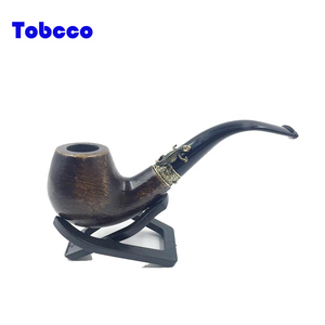 High quality Solid Wood Classical Smoking pipe Metal Gecko Ring Fancy Tobacco Pipe