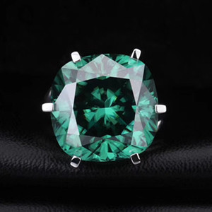 Green Moissanite Gemstone Engagement Rings Finger jewellery fashion jewellery silver ring