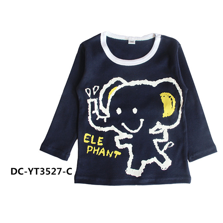 Lovely Elephant animal printing Long sleeves Round neck fancy kids t-shirt
