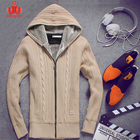 New Men'S Casual Round Collar Zip Cardigan Cotton Man Sweater With Hood