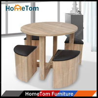 Contemporary High Quality Round Table and 4 Stools High Gloss MDF Dining Table Set
