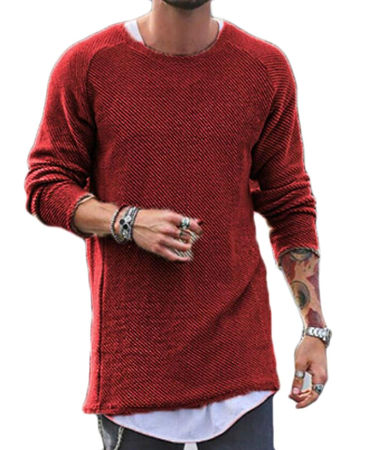 Pandapang Mens Classic Long Sleeve Woven Crewneck Knitted Pullover Jumper Sweaters