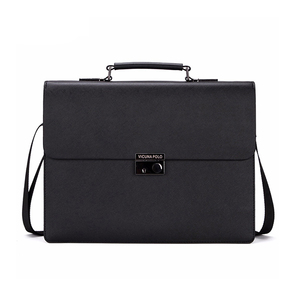 VICUNA POLO Over 14 Inches Theftproof Black Solid Bank OL Handbag Men PU Leather Briefcase Hardware Lock Business Bag