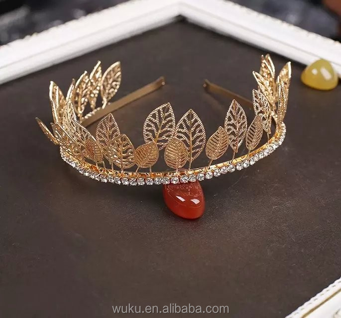in gold coating metal leaf unqiue design tiara crown