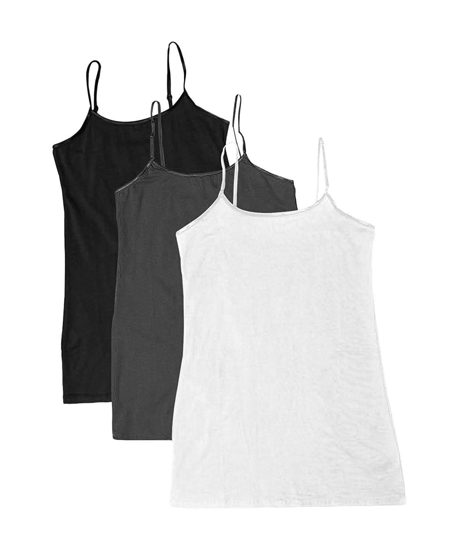 Plain Long Spaghetti Strap Tank Top Camis Basic Camisole Cotton 3 Pk Black/Charcoal/White
