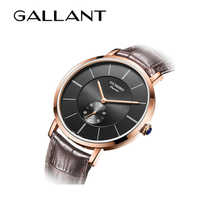 Fashion Rose gold genuine leather band stainless steel wristwatches for mens luxury watches