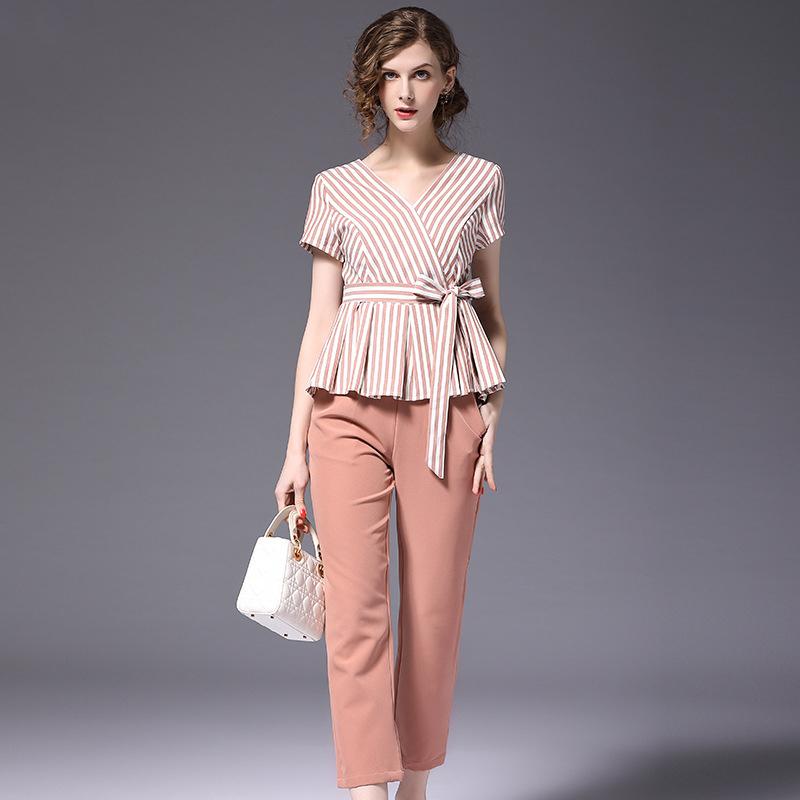 efdce3b86e Mujer traje de oficina conjunto Casual corta con cuello en V de las mujeres  de manga larga Tops + pantalones cortos de dos piezas de verano de las  mujeres ...