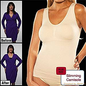 0850831ee00 Get Quotations · Powerangle Cami Shaper Genie With Removable Pads Plus Size  3 Color Slimming Camisole Underwear XXL White
