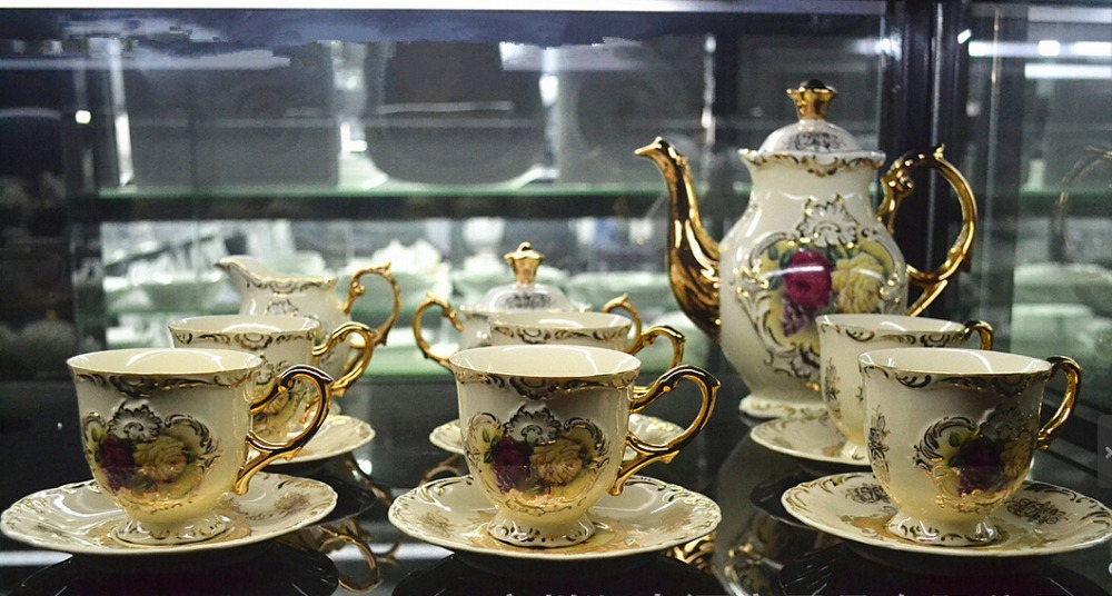 Coffee Tea Set 15pcs Drinkware Ceramic Gold Cup Saucer Luxury European Gift Hotel