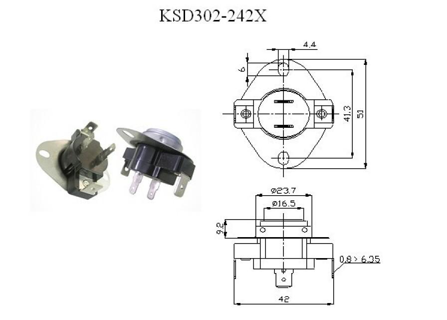 25a snap bimetal thermostat ksd 302-242x temperature limiter thermostat