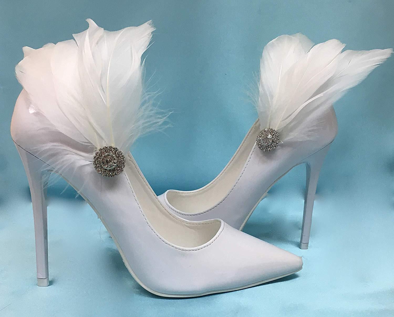 bc9daacd24bd4 Cheap Feather Shoe Clips Bridal