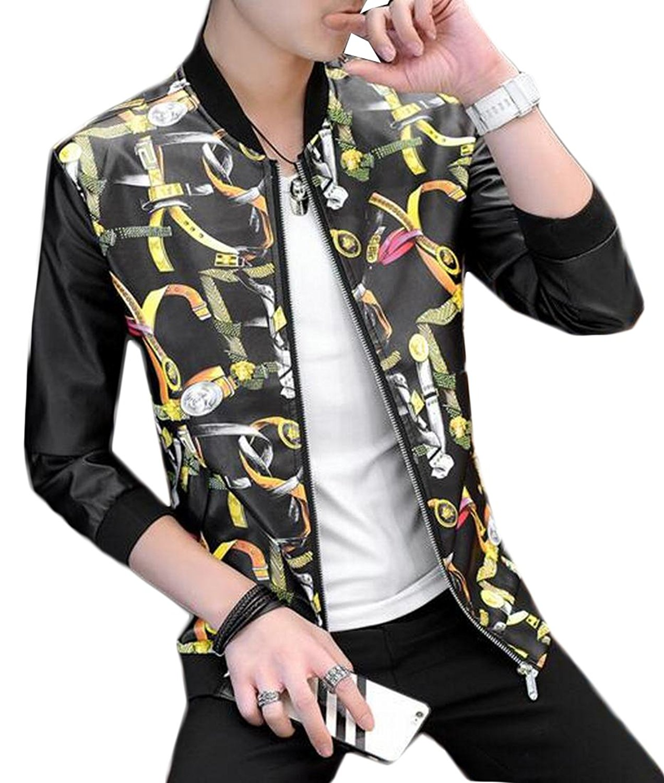 Qiangjinjiu Mens Slim Fit Classic Faux Leather Floral Baseball Bomber Jacket