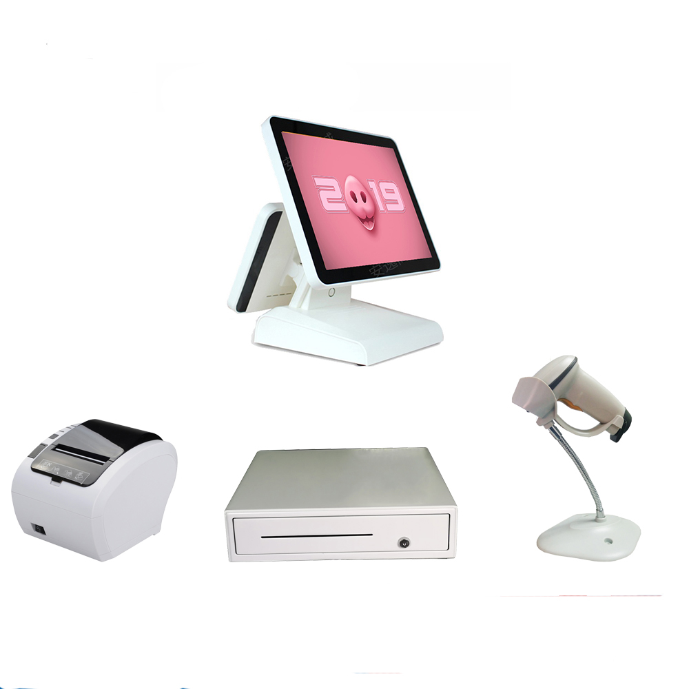 EEN Hele set van 15 inch dual screen pos alles in een kassa pos systeem machine