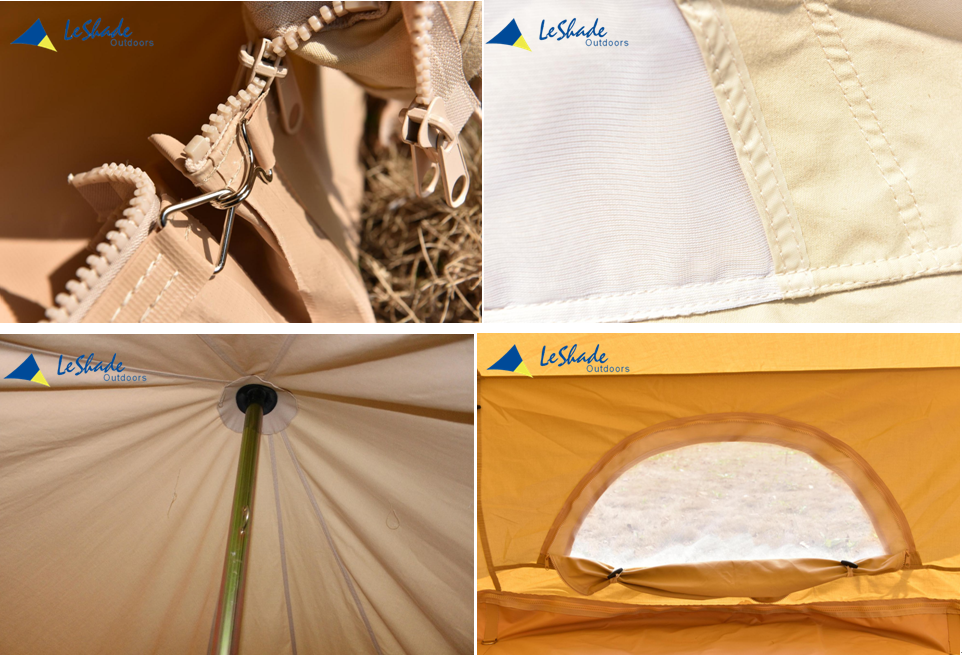 cotton canvas bell tent with HDPE tent cover sun shade tent