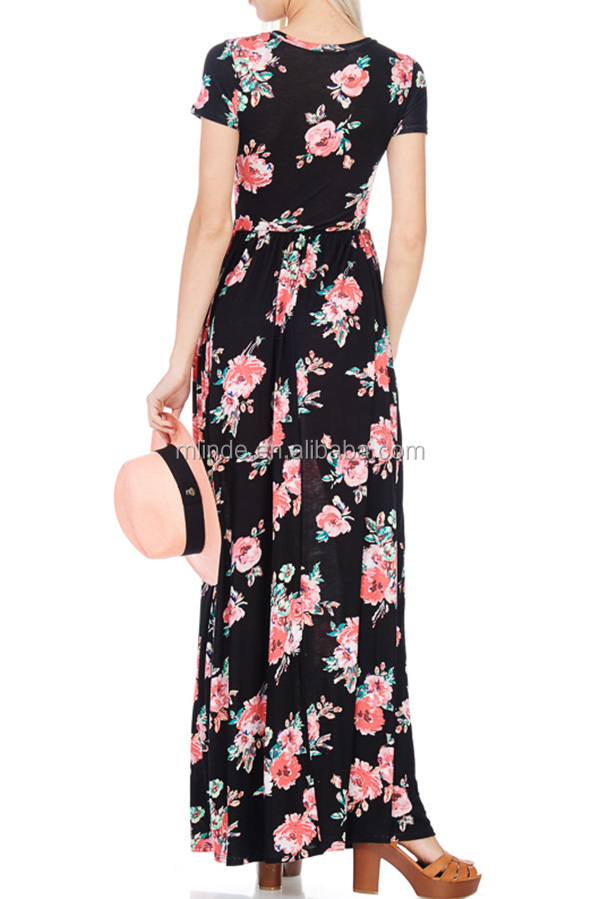 43fb343e80 Wholesale Plus size Short sleeve round neck elastic waist floral print maxi  dress with inseam pockets
