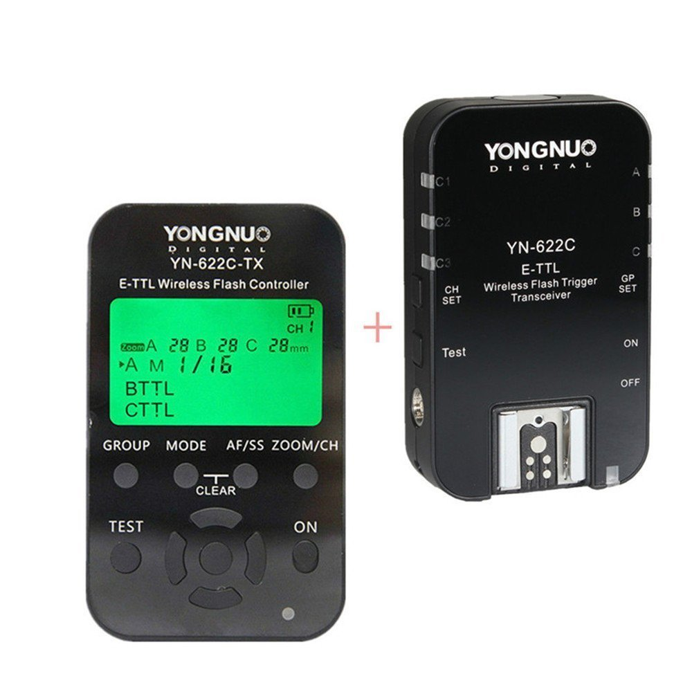 Yongnuo YN622C-KIT Wireless i-TTL Flash Trigger Kit with LED Screen for Canon Cameras, includes YN622C-TX Controller and YN622C Transceiver + WINGONEER Flash Diffuser