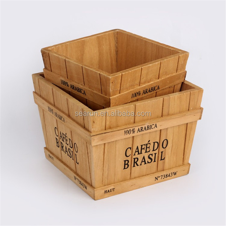 Wooden boxes for flower home decoration buy wooden box for Where do i find wooden crates