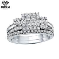 FRNR123 Fine jewelry square shape clear zircon wholesale sterling silver ring mountings