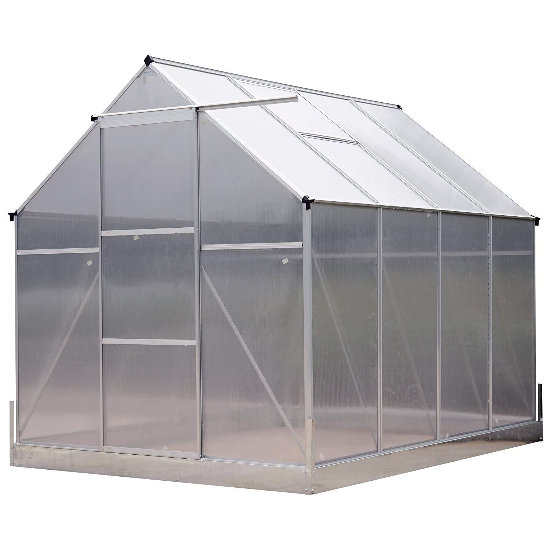 Outsunny Aluminum 8'L x 6'W x 7'H Polycarbonate Portable Walk-in Garden Greenhouse