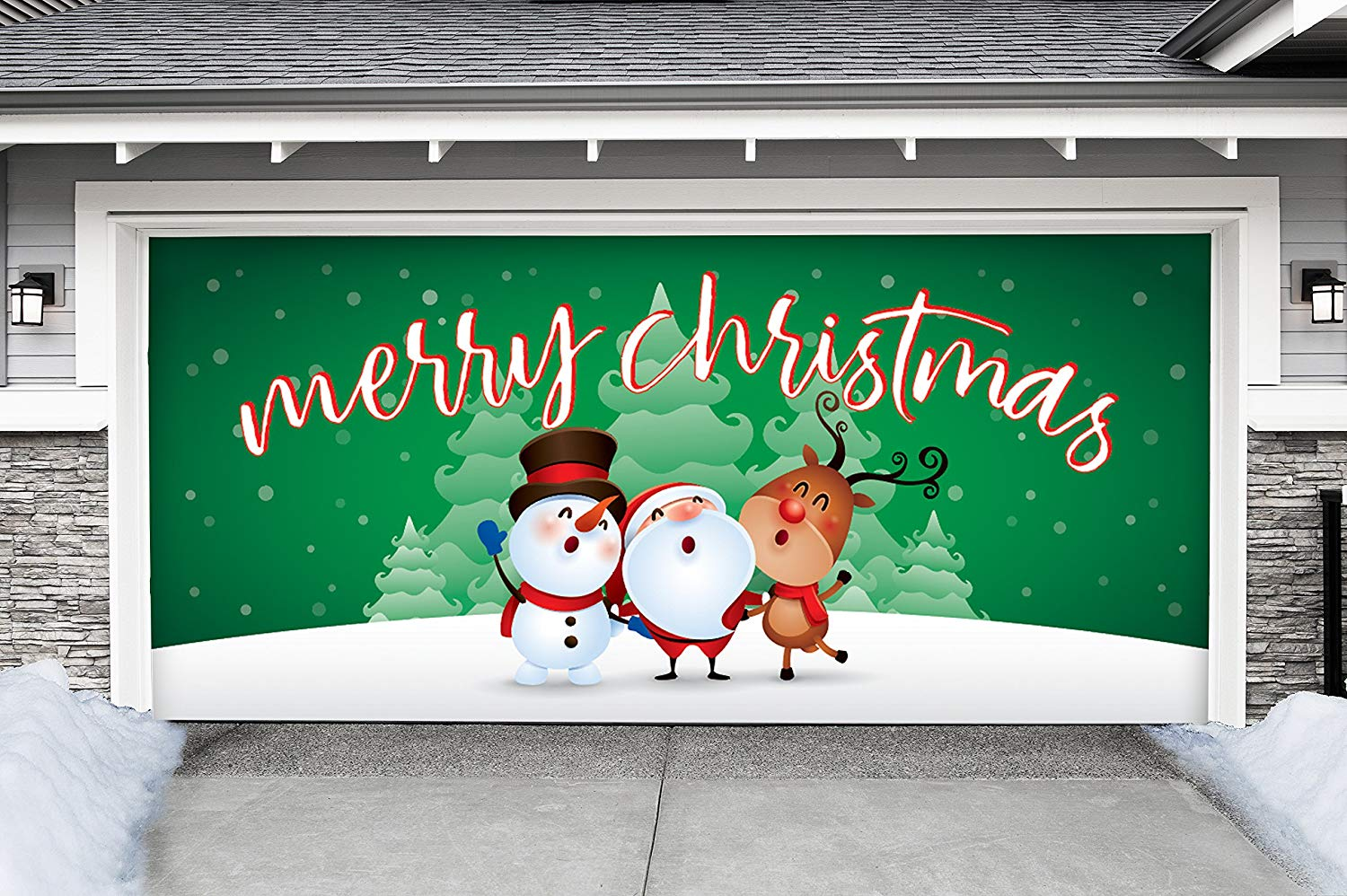 Victory Corps Outdoor Christmas Holiday Garage Door Banner Cover Mural Décoration - Christmas Characters Merry Christmas Winter - Outdoor Christmas Holiday Garage Door Banner Décor Sign 7'x16'