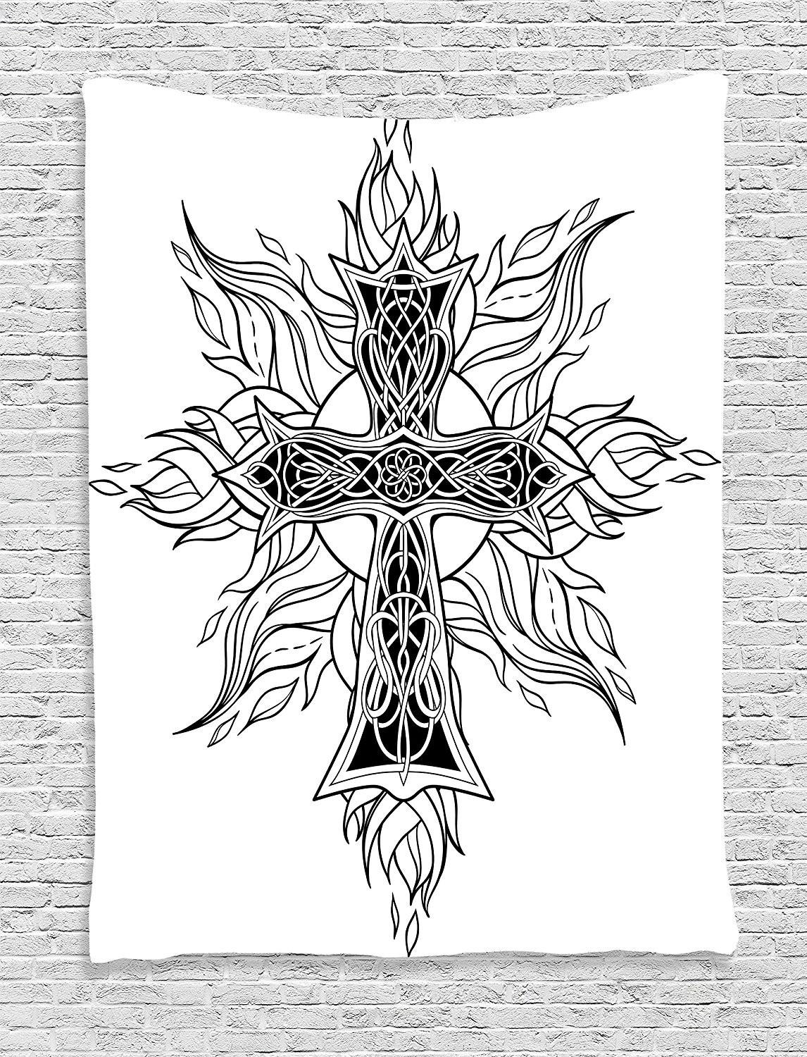Celtic Decor Tapestry By Ambesonne, Gothic Image Of Cross In Celtic Style With Flames Of Fire Simplistic Traditional Pattern, Bedroom Living Room Dorm Decor, 40Wx60L Inches, Black White