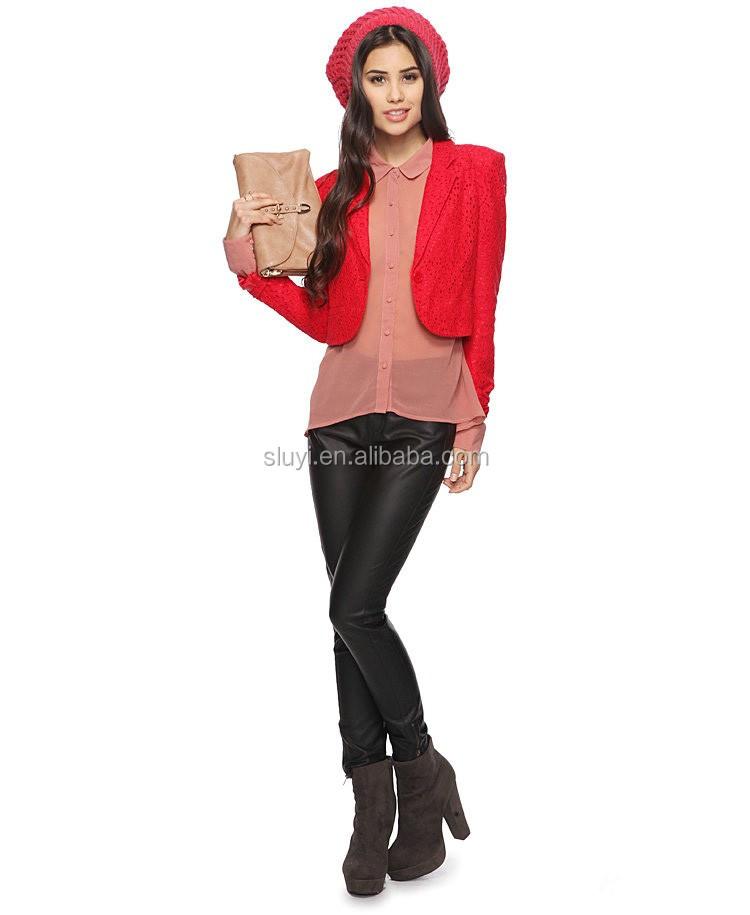 Nieuwste Mode Jassen : Nieuwste stijl nieuwe mode kant splicing dames jassen rode