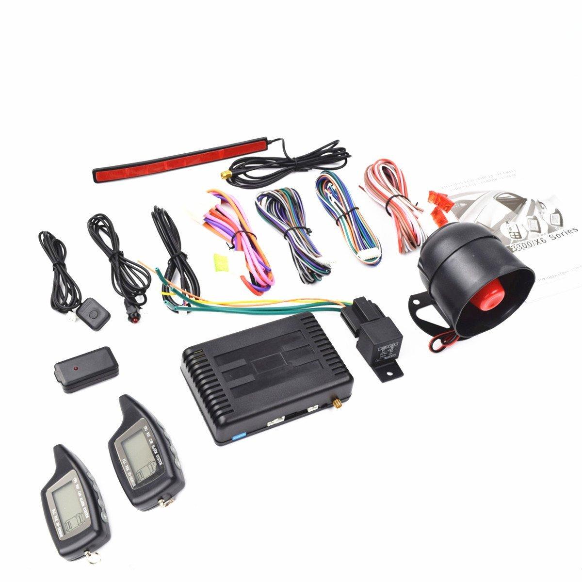 CarBest Vehicle Security Paging Car Alarm 2 Way LCD Sensor Remote Engine Start System Kit Automatic | Passive Keyless Entry(PKE) | Car Burglar Alarm System - CA-3300C