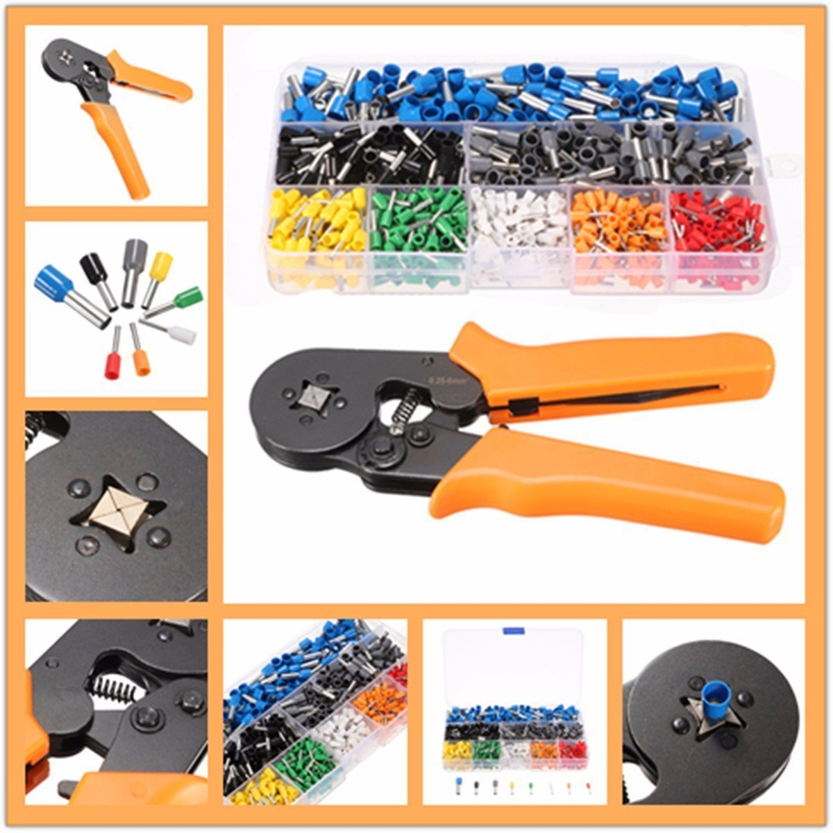 Qiunuo Ferrule Plier Tools With 800pcs Terminals AWG For Wire Crimping Tool Kit