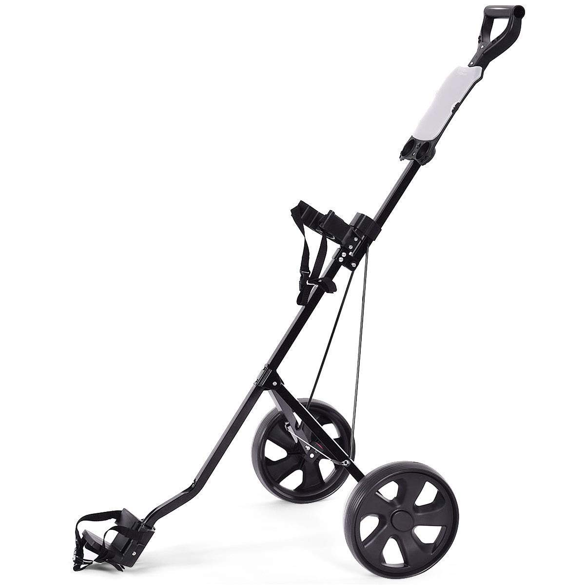 BeUniqueToday Folding 2 Wheels Push Pull Golf Cart Trolley w/Scoreboard, Folding 2 Wheels Push Pull Golf Cart Trolley with Functional Foot Operated Brakes, Golf Cart Trolley