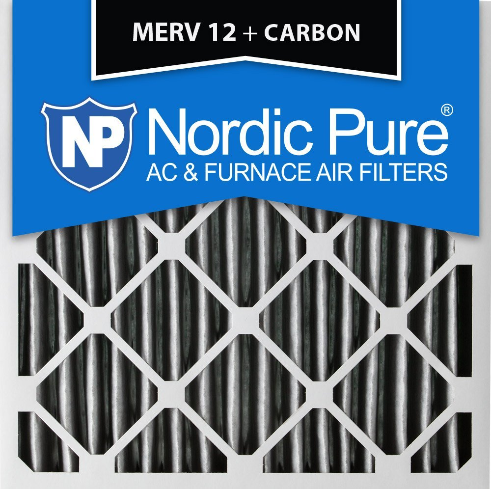 3-5//8 Actual Depth 1 Pack Nordic Pure 16x20x4 MERV 14 Plus Carbon Pleated AC Furnace Air Filters