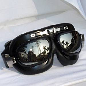 Vintage Aviator Pilot Style Goggles Biker Motocross Vented Goggles UV400