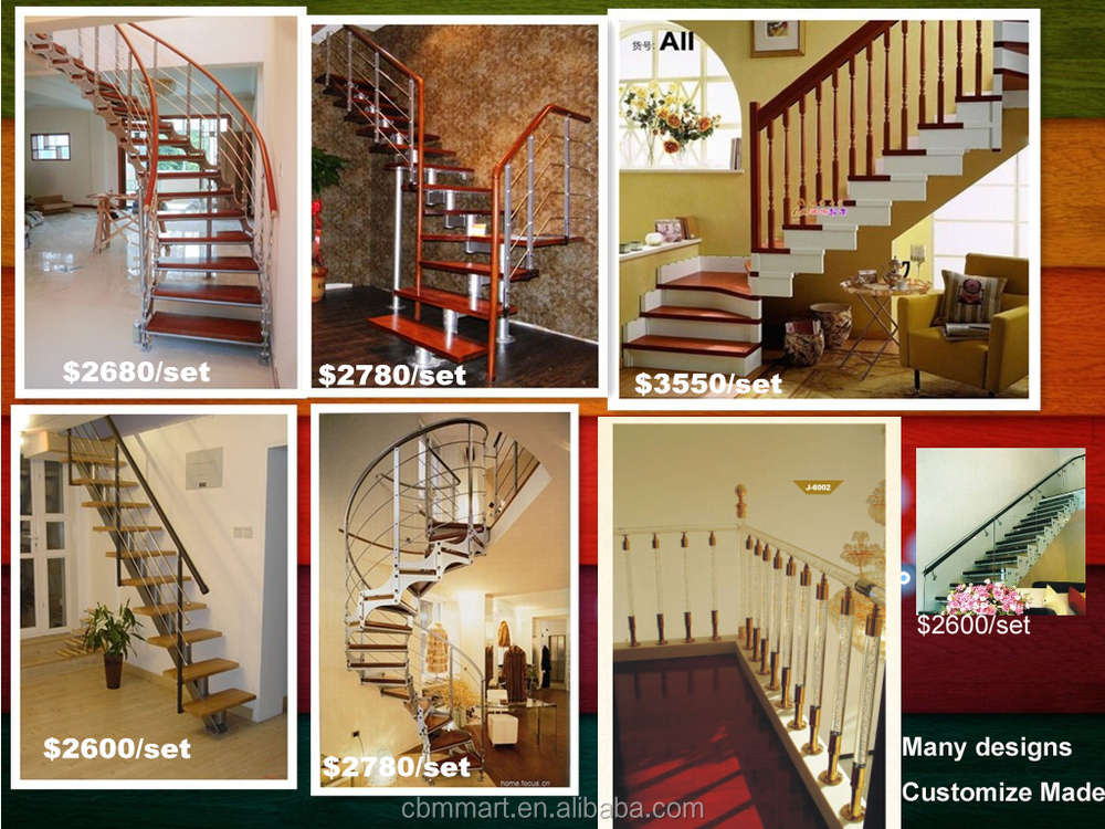 Stair Railing Tempered Glass Wood Step Stainless Handrail Indoor Stair  Tread Construction Real Estate Architect Contractor