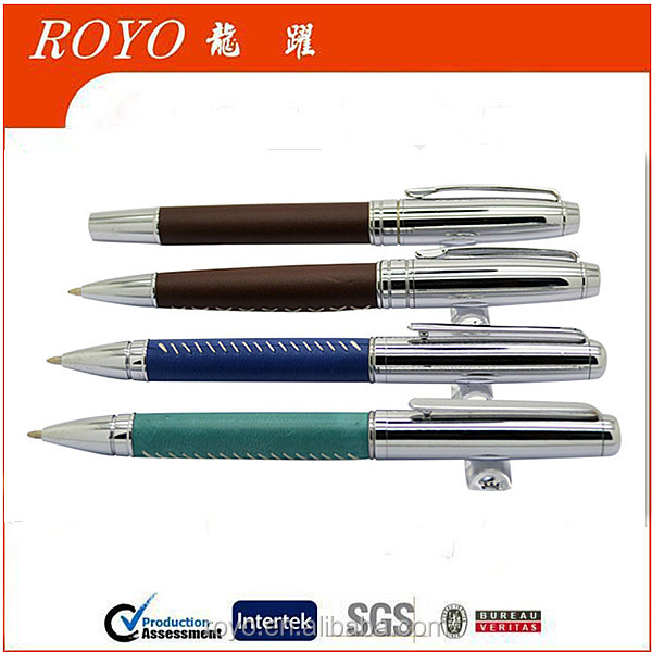2016 new design metal leather ball pen