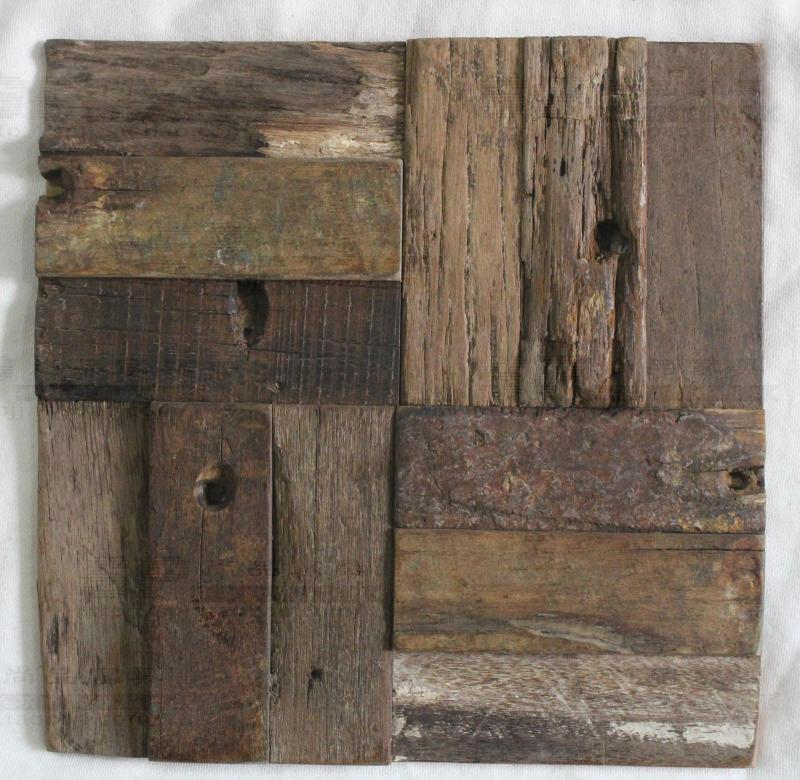 100% Natural Rustic Wood Wall Tile Wooden Mosaic Tiles For