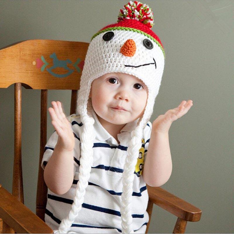 Fantastic 2014 New Fashion Cute Christmas Snowman Children Crochet Knit Inside Wool Cap Feida