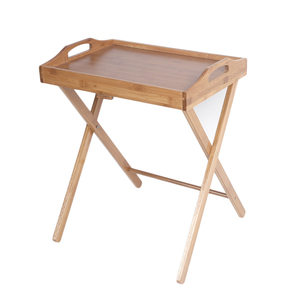 Bamboo Folding TV Serving Tray Snack Table Coffee Dinner Wooden Tray Stand