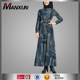 New Fashion Spring Autumn Muslim Women Long Sleeve Jeans Coat Female Casual Long Denim Overcoat