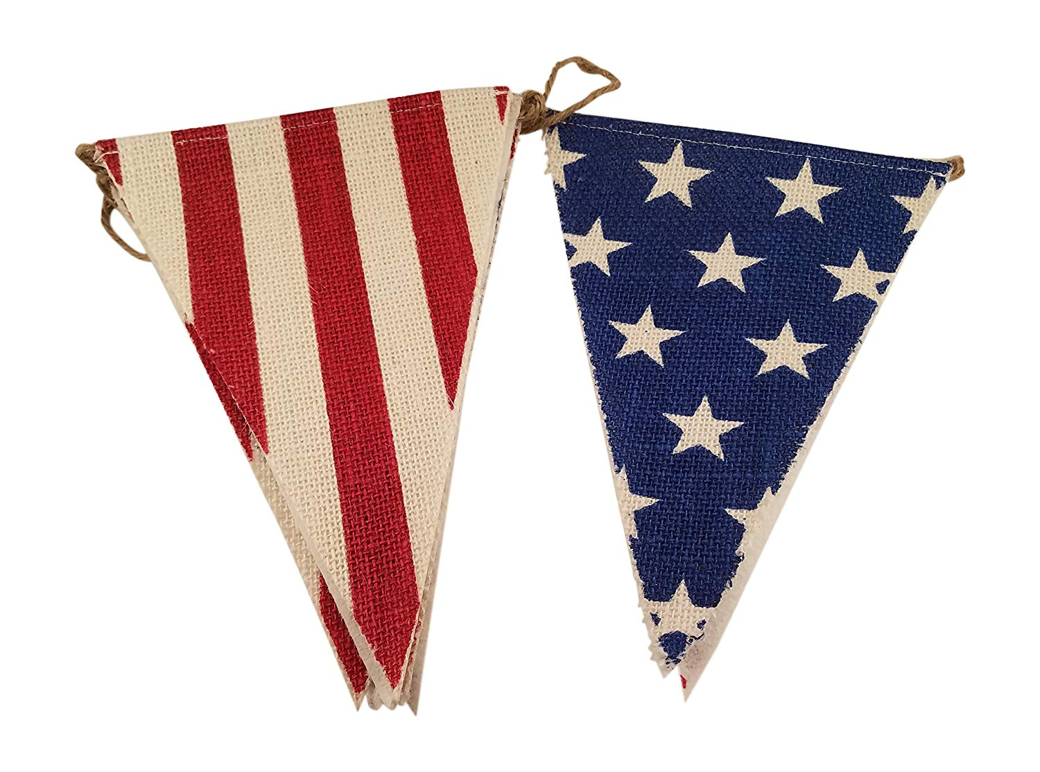 7d92815976 Burlap Flag Banner with Stars and Stripes 4th of July American Flag Print