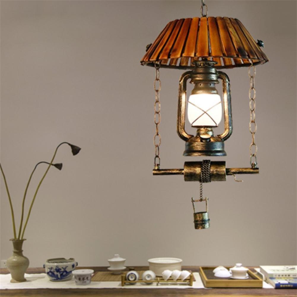 GAO LGDT Vintage lantern, kerosene lamps, vintage chandeliers, vintage bamboo chandeliers 33CM 100CM