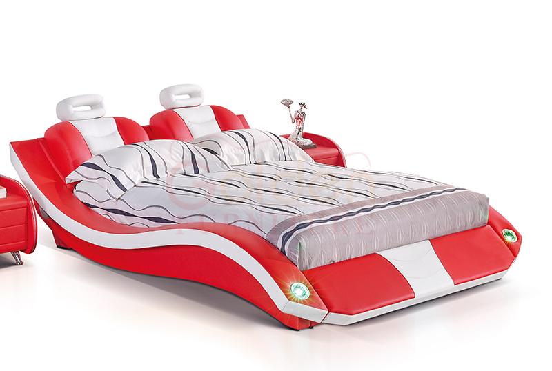 Pelle queen size telaio del letto rosso letto matrimoniale