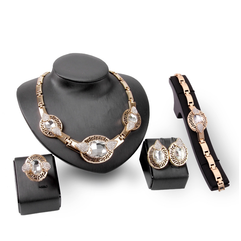 Wholesale fashion crystal jewelry necklace set earing and necklace set jewelry