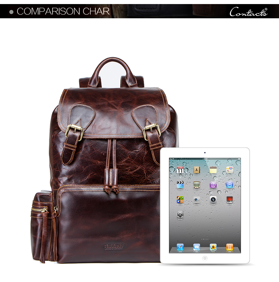 Guangzhou Factory Real Leather Retro Men Backpack